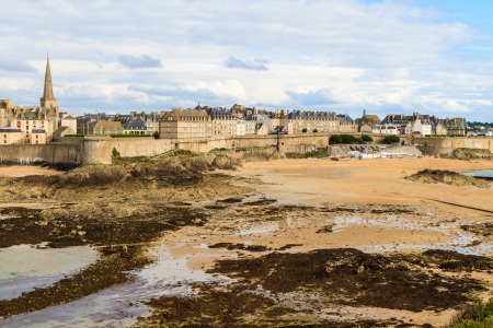 st malo: Saint Malo View on City Walls, Brittany, France