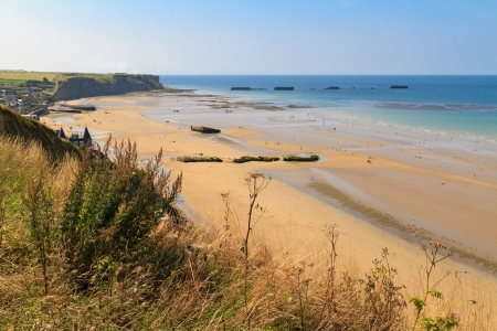 les: Normandy Landings, remains of artificial port at Arromanches-les-Bains, France