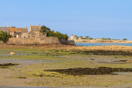 Normandy Coast near Saint-Vaast-la-Hougue and Tatihou island, France.  Stock Photo