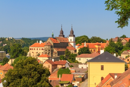 trebic: Trebic, old monastery and St. Procopus Basilica, Czech Republic Stock Photo