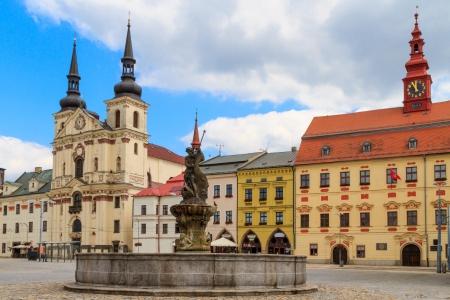czech culture: Jihlava (Iglau) Main (Masaryk) Square with Saint Ignatius Church, Moravia, Czech Republic