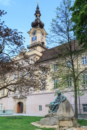 hauptplatz: Linz - Landhaus   Upper Austrian Landtag   Parliament with Adalbert Stifter statue
