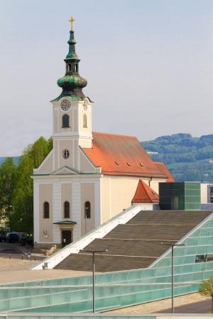 electronica: Linz - Urfahr Parish church with modern staircase, Austria