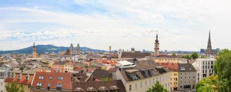 hauptplatz: Linz, View on old city with churches, Austria