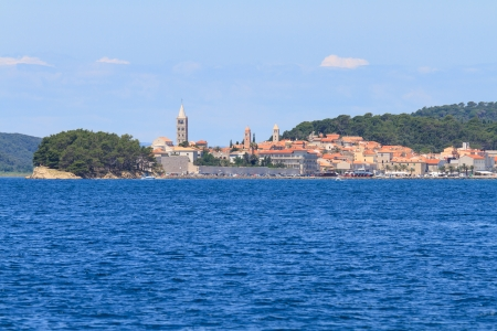 Croatian island of Rab, view on city and fortifications, Croatia photo