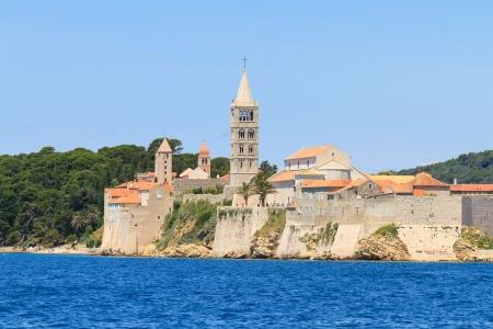 Croatian island of Rab, view on city and fortifications, Croatia photo
