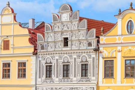 heritage site: Facade of Renaissance houses in Telc, Czech Republic  a UNESCO world heritage site