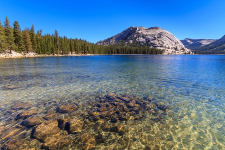 mammoth lakes: Yosemite National Park, View of Lake Tenaya  Tioga Pass , California Stock Photo