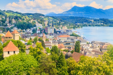 lucerne: Luzern City View from city walls with lake, Switzerland Stock Photo