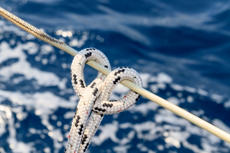 rigging: Sailboat rope detail on yacht