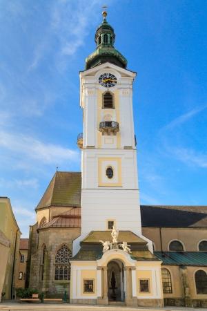 main gate: Freistadt Baroque Church, Upper Austria Stock Photo