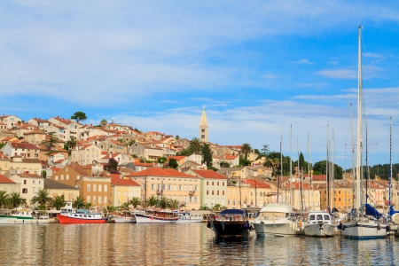mali: Mali Losinj waterfront and harbor, Island of Losinj, Dalmatia, Croatia Stock Photo