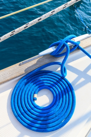 cleat: Sailboat rope detail on yacht