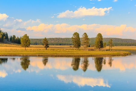 Scenic landscape of the Snake River at the Yellowstone National Park, Wyoming photo