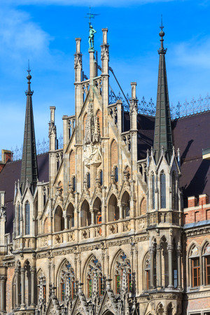 Munich, Gothic City Hall Facade Details, Bavaria, Germany photo