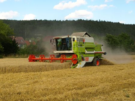 combines: Harvester on wheat field Stock Photo