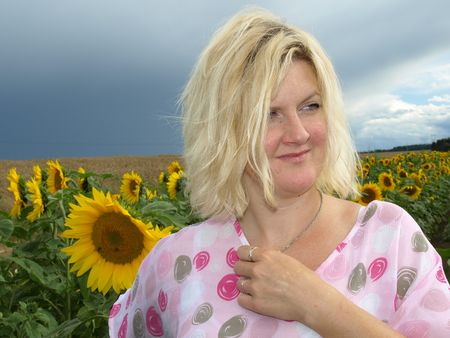 intended: Intended girl in sunflower field