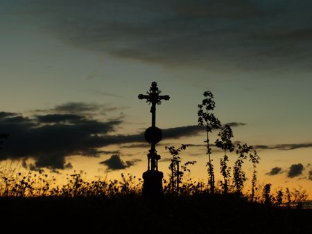 almighty: Summer sunset monument cross