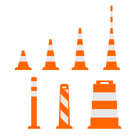 traffic   cones: Traffic cones flat on white Illustration