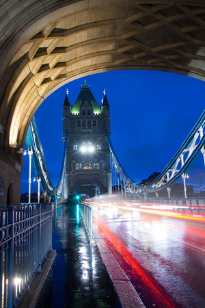 Tower Bridge in London during with blurry traffic Stock Photo