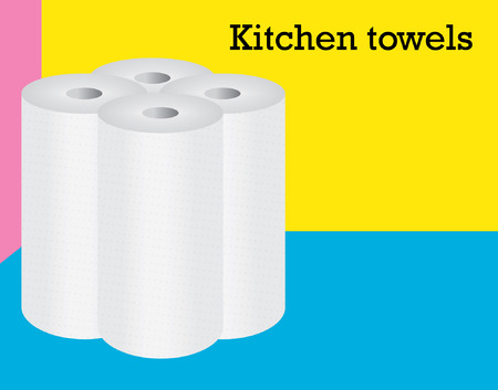 four reels ot kitchen towels staing on the multicolored background Illustration