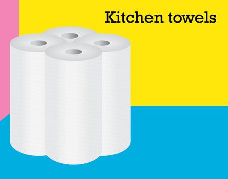 vier rollen ot keukenhanddoeken staing op de veelkleurige achtergrond