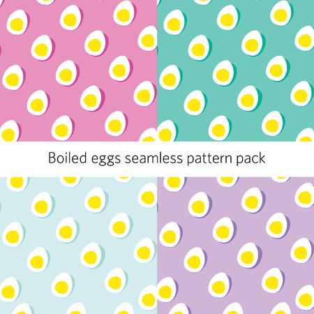 Half boiled egg seamless pattern on pastel background Ilustração