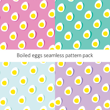 Half boiled egg seamless pattern on pastel background Stock Illustratie