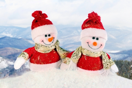 snowman wood: Cute snowman - Christmas postcard Stock Photo