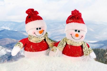 Cute snowman - Christmas postcard Stock Photo
