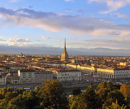 Sunset over the Turin city center with Mole Antonelliana-Turin, Italy, Europe