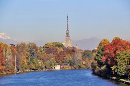 Autumn in Turin (Torino), panorama with river Po and the Mole Antonelliana, Italy