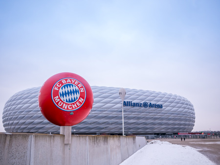 MUNICH, GERMANY - 22 FEBUARY 2018: The Allianz Arena is the home football stadium for FC Bayern Munich with a capacity of 70.000 seats.Most famous football club in Germany. Banco de Imagens - 110870637