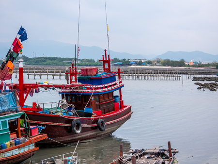 fishing boat in Thailand at the harbor.