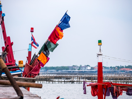 fishing boat port in Thailand. Stock Photo