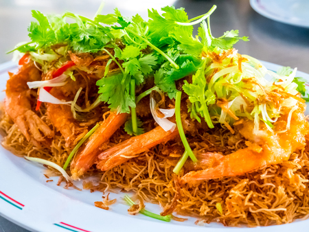 fried shrimps or prawns with spicy sauce thai food style.