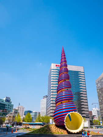 Seoul, South Korea - April 16, 2018: The Spring Sculpture, located in Cheonggye Plaza near Cheonggyecheon Stream, represents new life for the once decrepit stream area,destination for tourist. Editorial