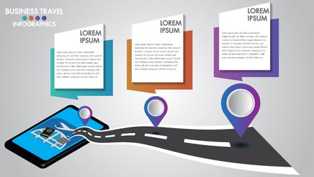 Design infografico 3d tablet mobile con navigazione stradale, concetto di tecnologia navigatore. Timeline con 3 passaggi, opzioni numeriche o processo. Illustrazione vettoriale.