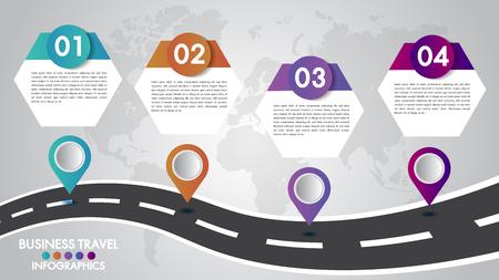Modèle d'infographie de la chronologie 4 options de conception avec une route et des pointeurs de navigation pour vos données. Illustration vectorielle. Vecteurs