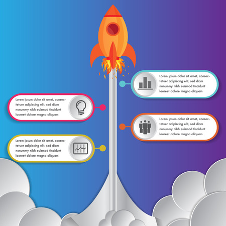 Infographics design template rocket or spaceship launches through the clouds with icons flying up 4 options elements arranged in vertical row and year indication.Concept of four annual steps. Ilustração
