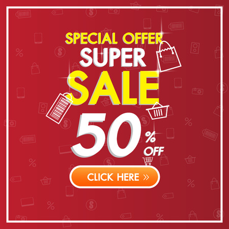 Sale Discount red banner background up to 50% off technology concept for the online shopping store, shop, promotional leaflet, poster.Vector illustration