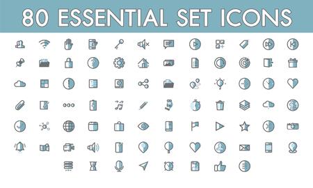 Stellen Sie die Kommunikation einfach ein. 80 wesentliche Symbole mit Farblinien gefüllte Umrisssymbole für Web und Mobile, Shop, Kontakt, Social-Media-Markt, Technologie, Pfeil.