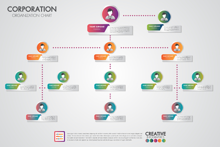 Corporate organization chart template with business people icons. Vector modern infographics and simple with profile illustration.Corporate hierarchy and human model connection. Illusztráció