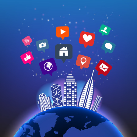 Abstract digital global technology in night sky with social media icons and building vector background.Network communications concept design view from space.