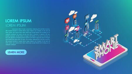 Smartphone with Smart city with smart services and icons.Augmented reality and technology concept, night city, internet of things.Landing page template.3d vector isometric illustration.