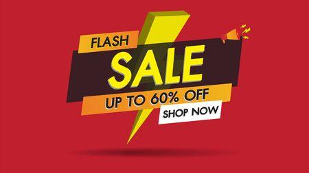 Flash-verkoop banner promotie sjabloonontwerp op rode achtergrond met gouden donder. Grote verkoop speciale 60% aanbieding labels. Einde van seizoen speciale aanbieding banner winkel nu.