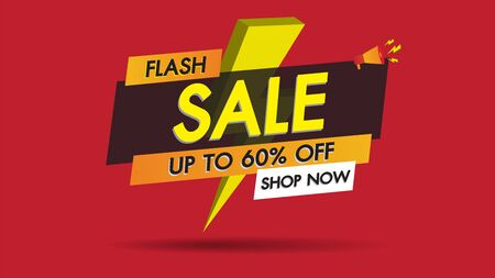 Flash sale banner promotion template design on red background with golden thunder.Big sale special 60% offer labels.End of season special offer banner shop now.