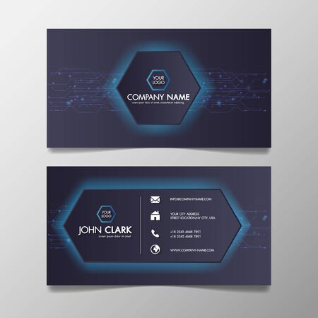 Business card modern technology network light blue and Black template creative and Clean, Illustration abstract color professional and designer.