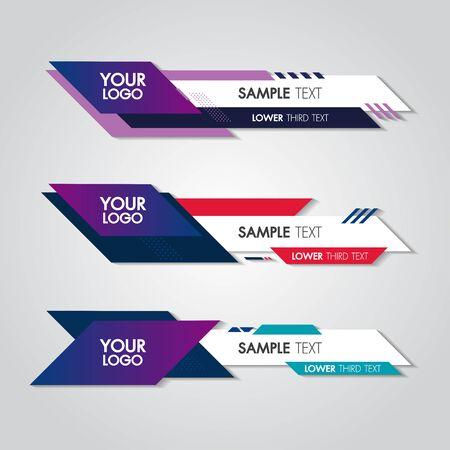 Inferiore terzo modello di design bianco e colorato moderno contemporaneo. Insieme del nome della barra di trasmissione dello schermo della barra dei banner. Raccolta del terzo inferiore per l'editing video su sfondo trasparente.