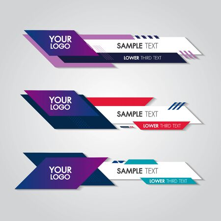 Lower third white and colorful design template modern contemporary. Set of banners bar screen broadcast bar name. Collection of lower third for video editing on transparent background. Banco de Imagens - 127121926